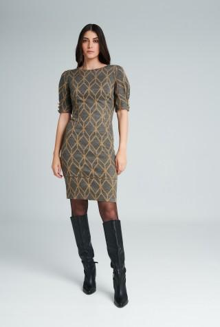 Badoo γκρι φόρεμα με γεωμετρικά σχέδια